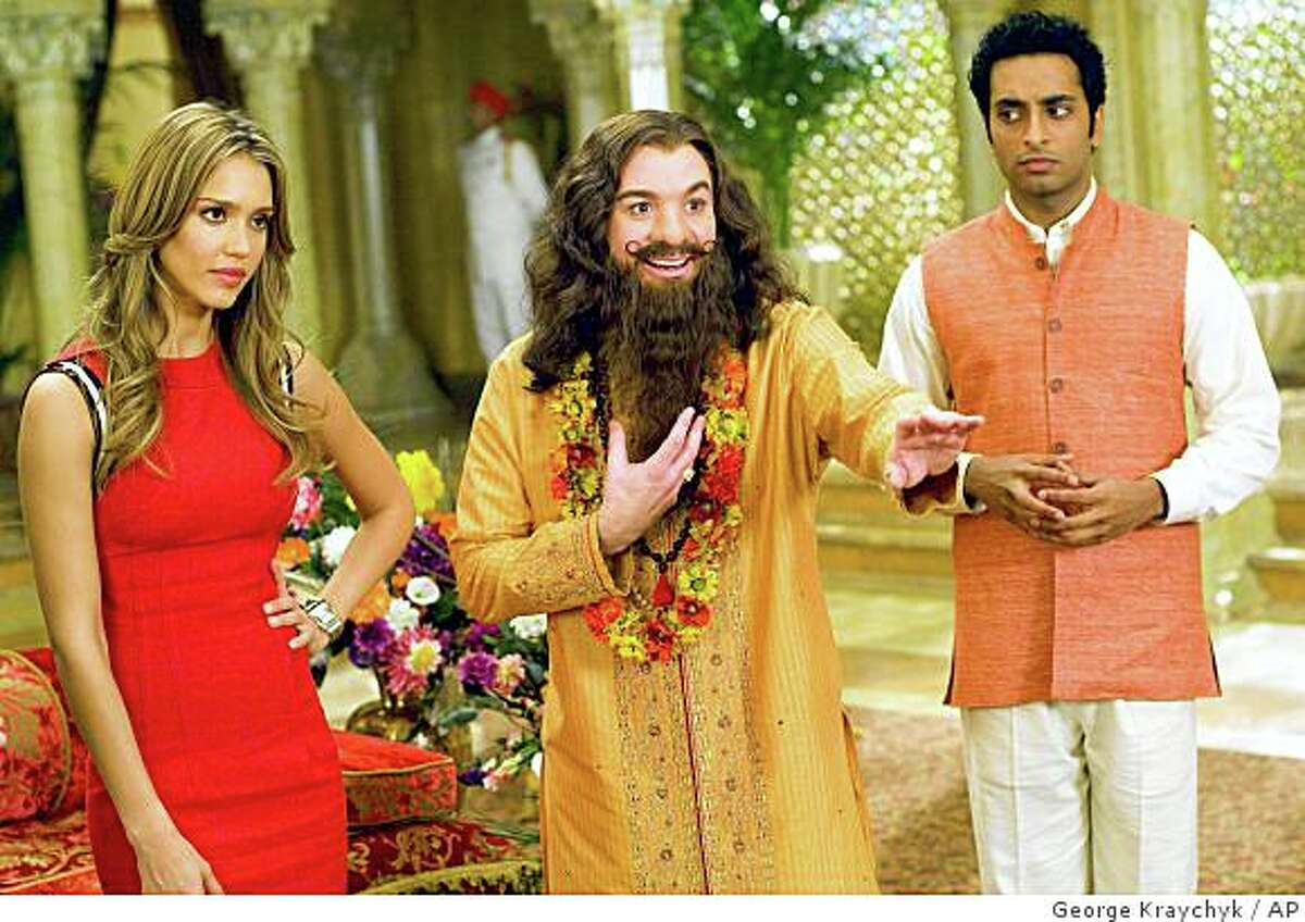 """In this image released by Paramount Pictures, Jessica Alba, left, Mike Myers, center, and Manu Narayan star in the comedy """"The Love Guru."""" (AP Photo/Paramount Pictures, George Kraychyk) ** NO SALES **"""