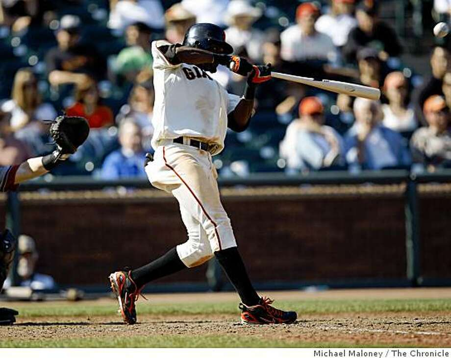 San Francisco Giants Eugenio Velez connects with the game winning RBI in the 9th inning.The San Francisco Giants host the Arizona Diamondbacks in a MLB game at AT&T Park in San Francisco, Calif., on Sept. 10, 2008. Photo: Michael Maloney, The Chronicle