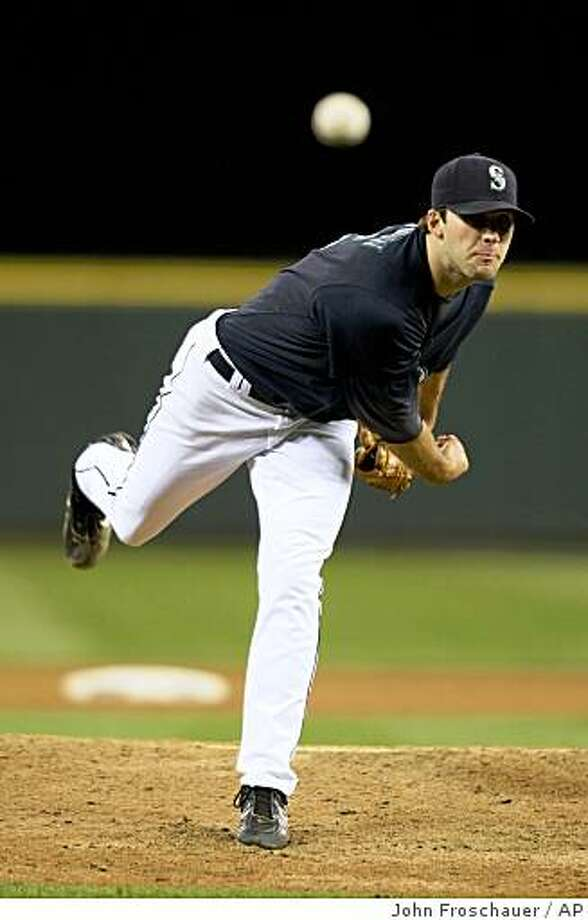 Seattle Mariners' Brandon Morrow pitches to the New York Yankees during the seventh inning of their baseball game in Seattle on Friday, Sept. 5, 2008. (AP Photo/John Froschauer) Photo: John Froschauer, AP