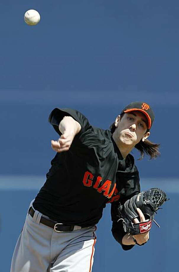 San Francisco Giants starting pitcher Tim Lincecum throws during a spring training baseball game against the San Francisco Giants, Wednesday, March 3, 2010, in Peoria, Ariz. Photo: Charlie Neibergall, AP
