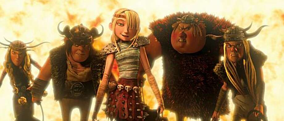 "In this film publicity image released by Paramount Pictures,Astrid, voiced by America Ferrera, center, is shown a scene is shown from ""How to Train Your Dragon."" Photo: AP"