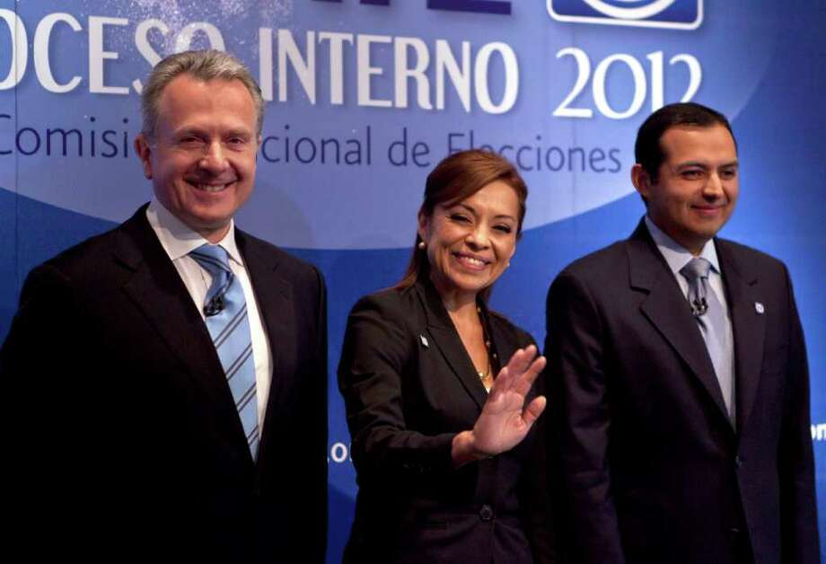 Josefina Vázquez Mota won the nomination over former Finance Minister Ernesto Cordero  (right) and  Congressman Santiago Creel Miranda. Photo: Christian Palma, Associated Press