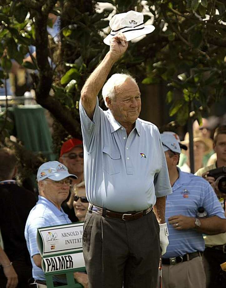 Arnold Plamer tips his hat, as the gallery cheers, before he tees off during the Pro-Am round of the Arnold Palmer Invitational golf tournament at Bay Hill in Orlando, Fla., Wednesday, March 24, 2010. Photo: John Raoux, AP