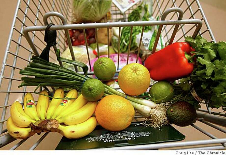 Grocery shopping items from 99 Ranch Market in Richmond, Calif., on August 27, 2008. These were items on a grocery shopping list by Arnell Hinkle, Executive Director of Canfit, for school lunches $20 or under, a week. Photo: Craig Lee, The Chronicle