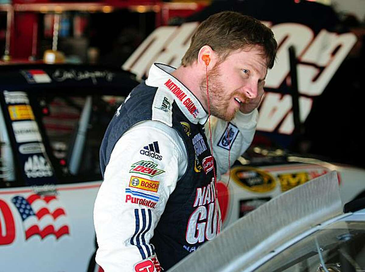 NASCAR Sprint Cup Series driver Dale Earnhardt Jr. prepares to resume testing at Charlotte Motor Speedway in Concord, North Carolina, Tuesday, March 23, 2010. Spoilers will replace the wing on the NASCAR Sprint Cup Series cars beginning this week in Martinsville, Va. (Jeff Siner/Charlotte Observer/MCT)