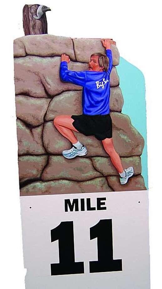The marker at Mile 11 at the Big Sur International Marathon. ARt by John Cerney. Photo: Courtesy John Cerney