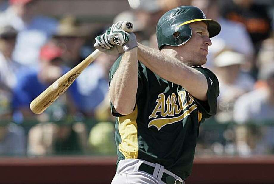 Oakland Athletics' Gabe Gross hits a two-run double against the San Francisco Giants in the third inning of a spring training baseball game in Scottsdale, Ariz., Saturday, March 13, 2010. Photo: Jeff Chiu, AP