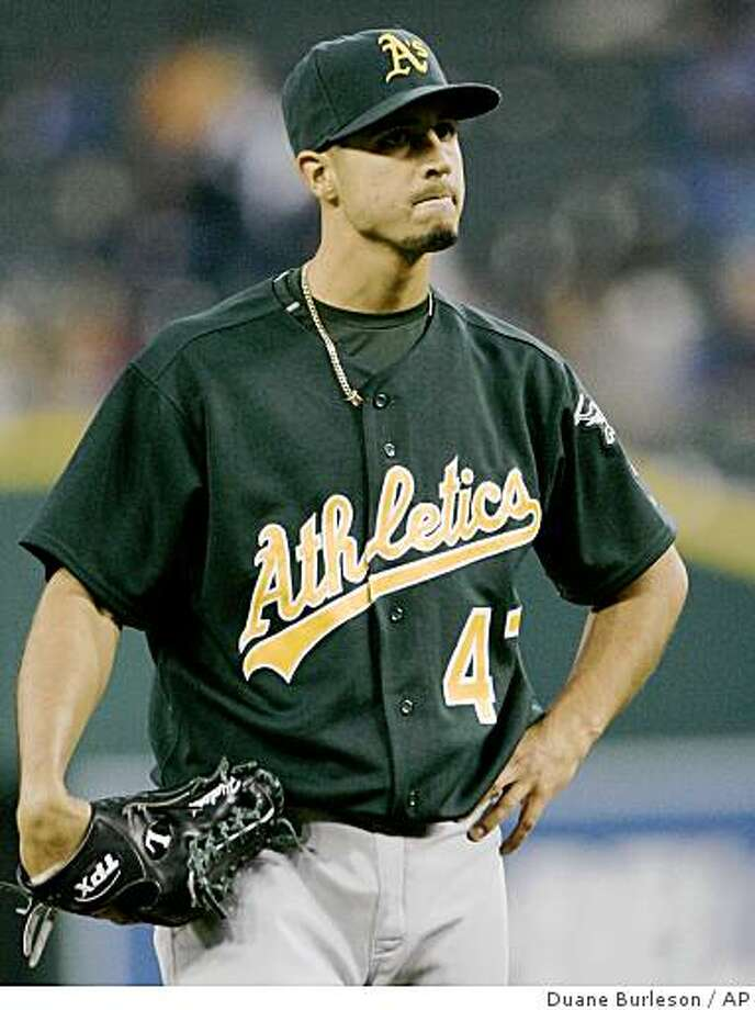Oakland Athletics starter Gio Gonzalez reacts on the mound after giving up a solo home run to Detroit Tigers' Gary Sheffield in the first inning of a baseball game Monday, Sept. 8, 2008 in Detroit. (AP Photo/Duane Burleson) Photo: Duane Burleson, AP
