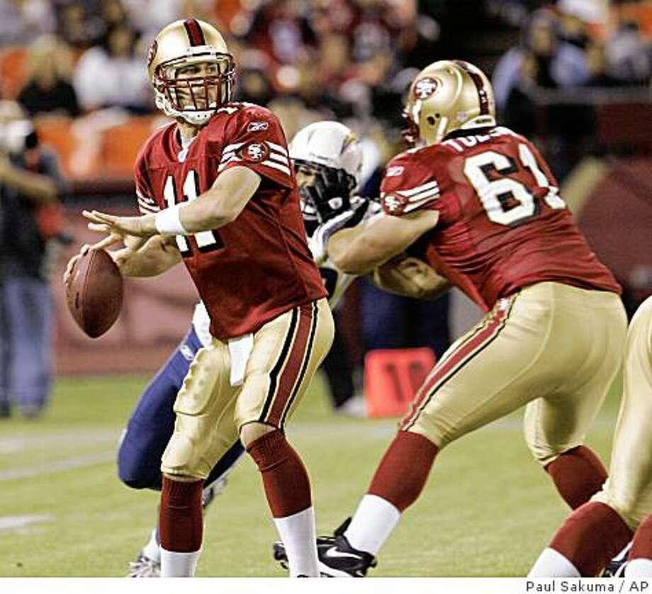 San Francisco 49ers quarterback Alex Smith (11) throws an interception to San Diego Charger's Cletis Gordon in the second quarter of their preseason NFL football game in San Francisco, Friday, Aug. 29, 2008. (AP Photo/Paul Sakuma) Photo: Paul Sakuma, AP