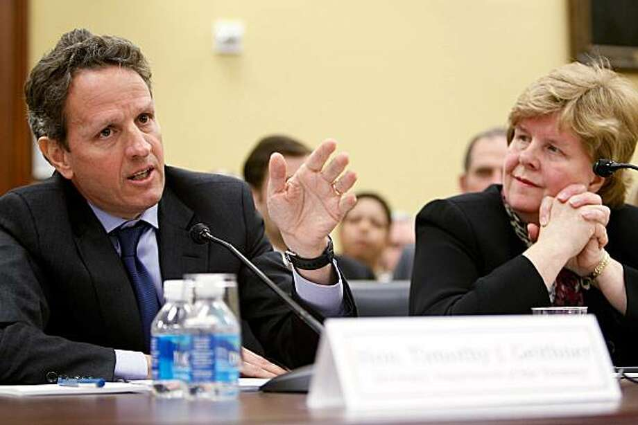 WASHINGTON - MARCH 16:  U.S. Secretary of the Treasury Timothy Geithner (L) speaks as Chair of the White House Council of Economic Advisers Christina Romer (R) looks on during a hearing before the House Appropriations Committee March 16, 2010 on Capitol Hill in Washington, DC. The hearing was to examine the FY2011 budget and the outlook of the economy. Photo: Alex Wong, Getty Images