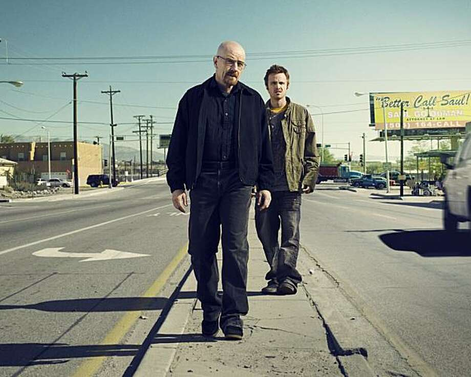 Walter White (Bryan Cranston) and Jesse Pinkman (Aaron Paul) of AMC's Breaking  Bad. Photo: Ben Luener, AMC