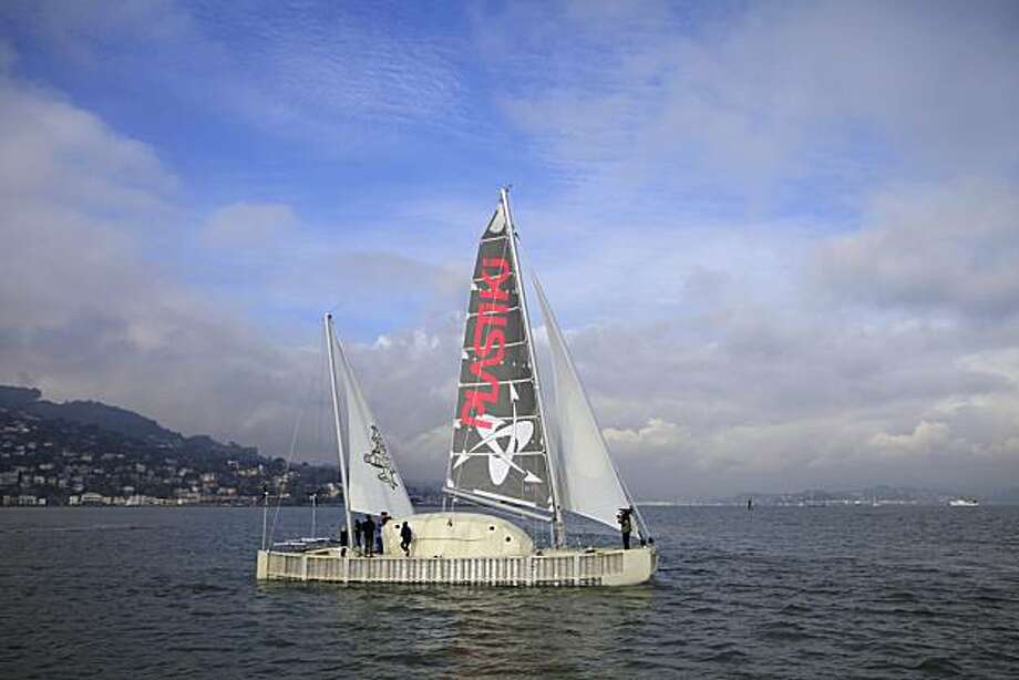 The Plastiki moves along the San Francisco bay during a sea trial on Wednesday, February 3, 2010. The Plastiki, whose mission is to beat waste, is a catamaran that uses 12,500 plastic drink bottles in it's construction and will be sailing from San Francisco to Sydney, Australia in March. Photo: Lea Suzuki, The Chronicle