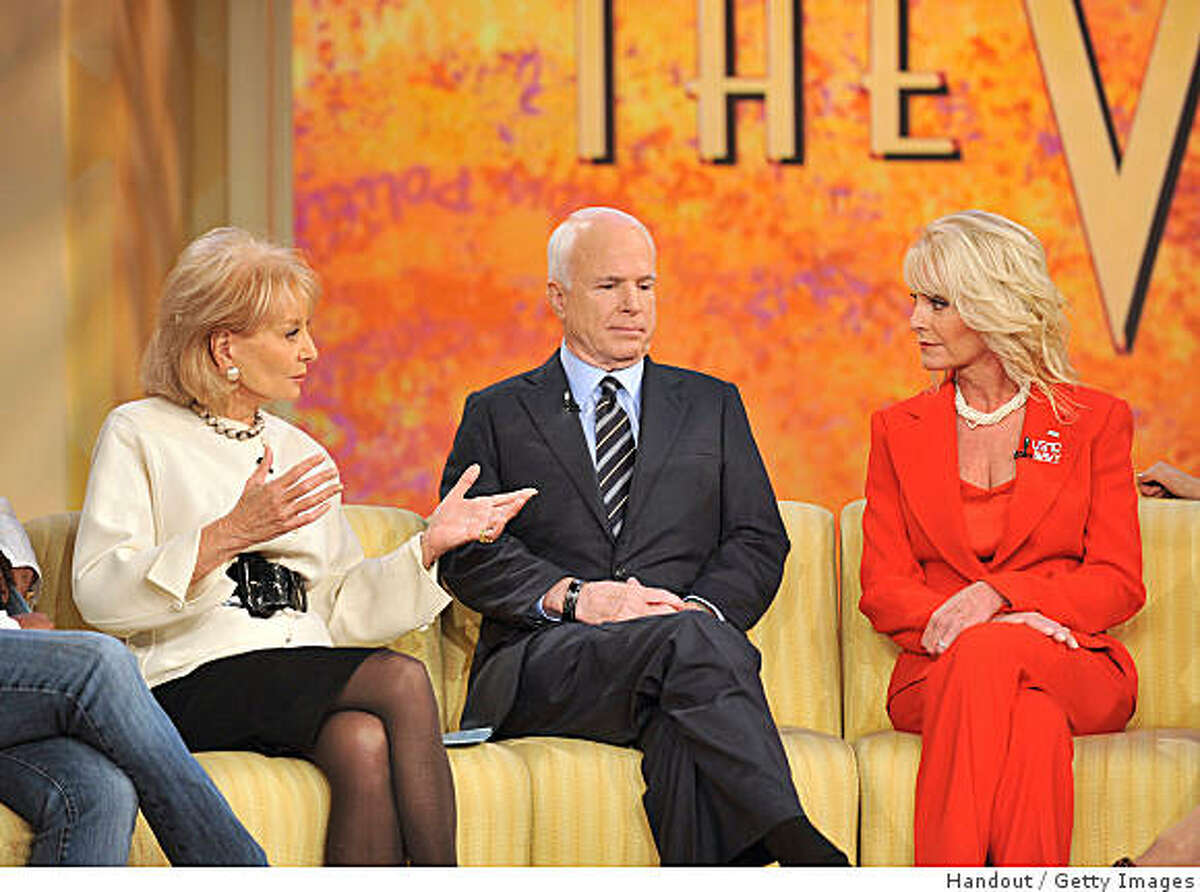 NEW YORK - SEPTEMBER 11: (EDITORIAL USE ONLY, NO ARCHIVING, NO RESALE) In this photo provided by ABC, Republican presidential nominee John McCain and wife Cindy speak with Barbara Walters during a taping of the
