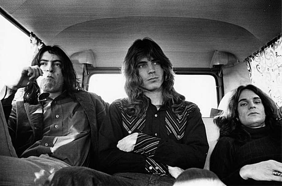 Alex Chilton, far right, literally sitting in the back of a car with the other members of Big Star during the early '70s. Photo: Ryko
