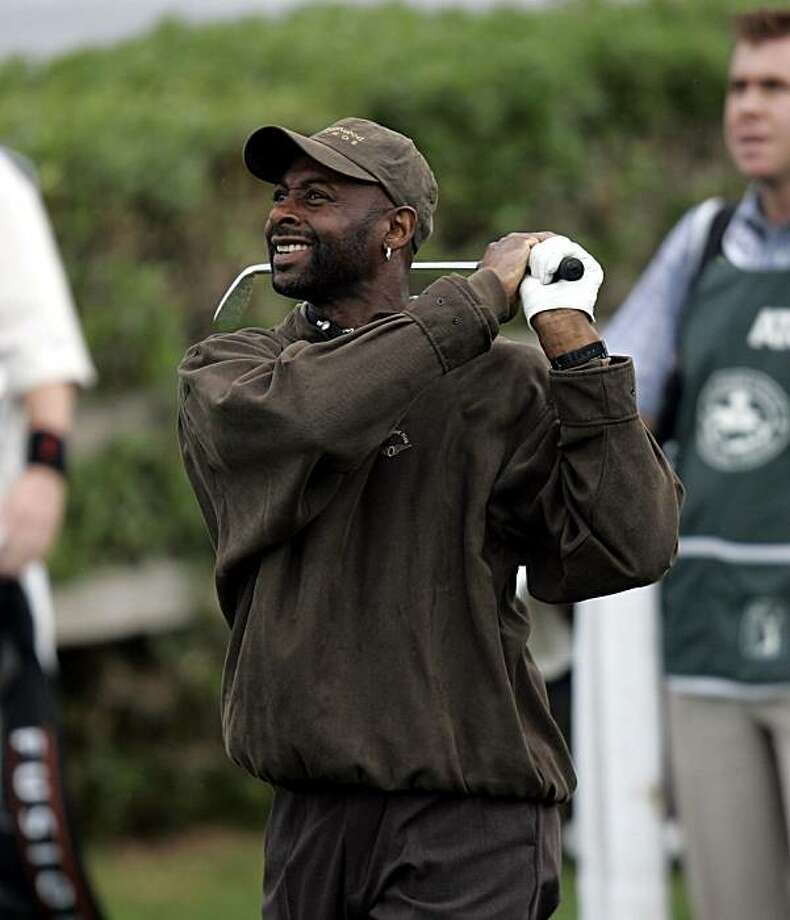 Former NFL receiver Jerry Rice golfing. Circa 2010. Time and place unknown. Photo: PGA Tour Images