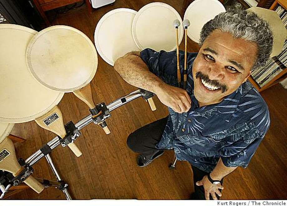 Anthony Brown,leader of the Asian American Orchestra. With a set of Fan drums . on Tuesday, Sept, 2  2008 in Berkeley , Calif Photo: Kurt Rogers, The Chronicle
