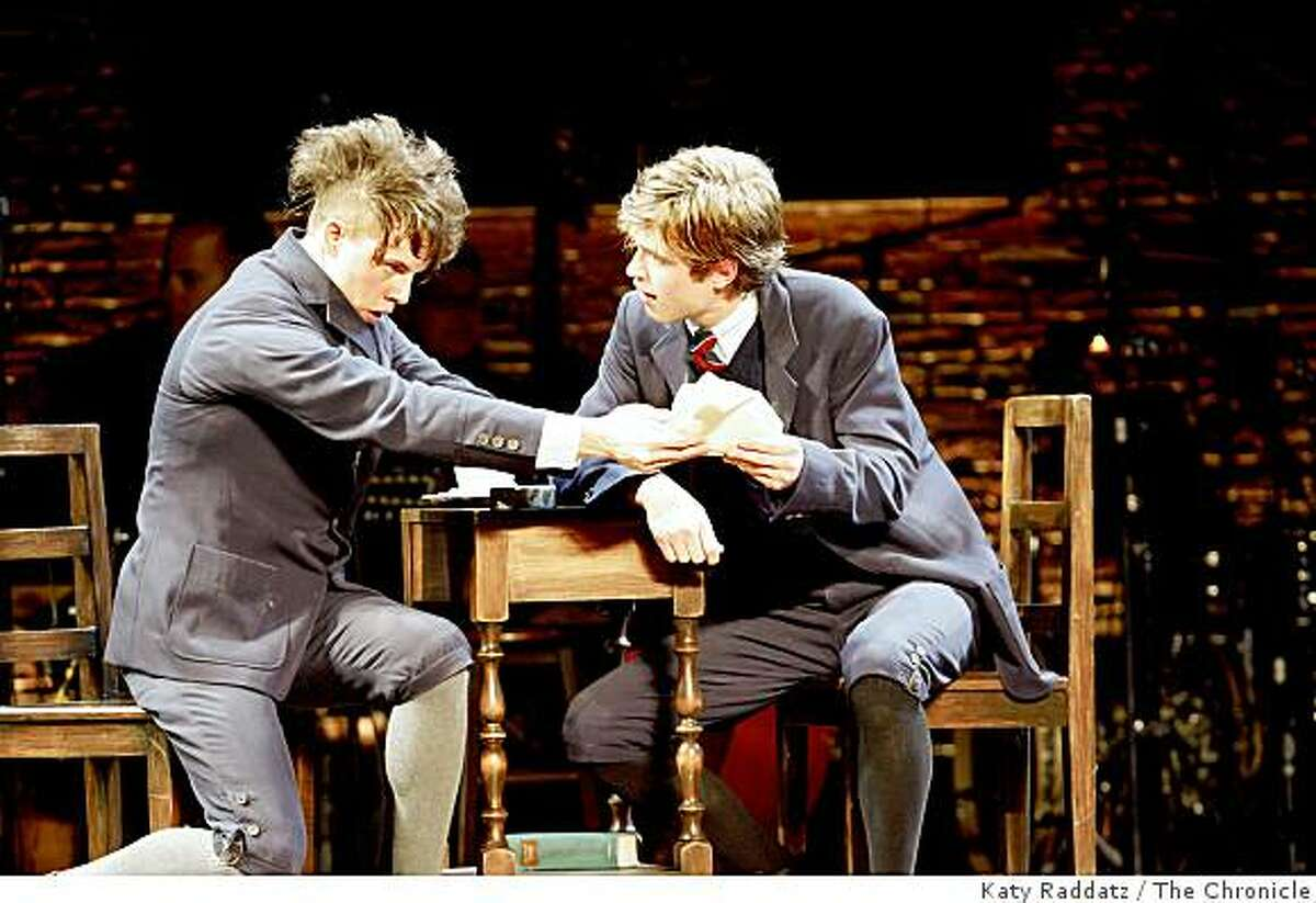 """Moritz, played by Blake Bashoff, left, and Melchoir, played by Kyle Riabko, right, attempting to make sense of their own sexual awakening, at the opening performance of """"Spring Awakening,"""" launch of the national tour of big Broadway hits in the Best of Broadway series at the Curran Theater in San Francisco, Calif. on Sunday, Sept. 7, 2008."""