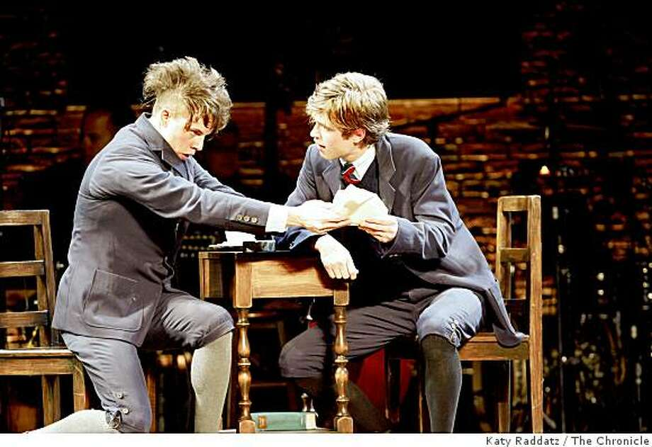 """Moritz, played by Blake Bashoff, left, and Melchoir, played by Kyle Riabko, right, attempting to make sense of their own sexual awakening, at the opening performance of """"Spring Awakening,"""" launch of the national tour of big Broadway hits in the Best of Broadway series at the Curran Theater in San Francisco, Calif. on Sunday, Sept. 7, 2008. Photo: Katy Raddatz, The Chronicle"""