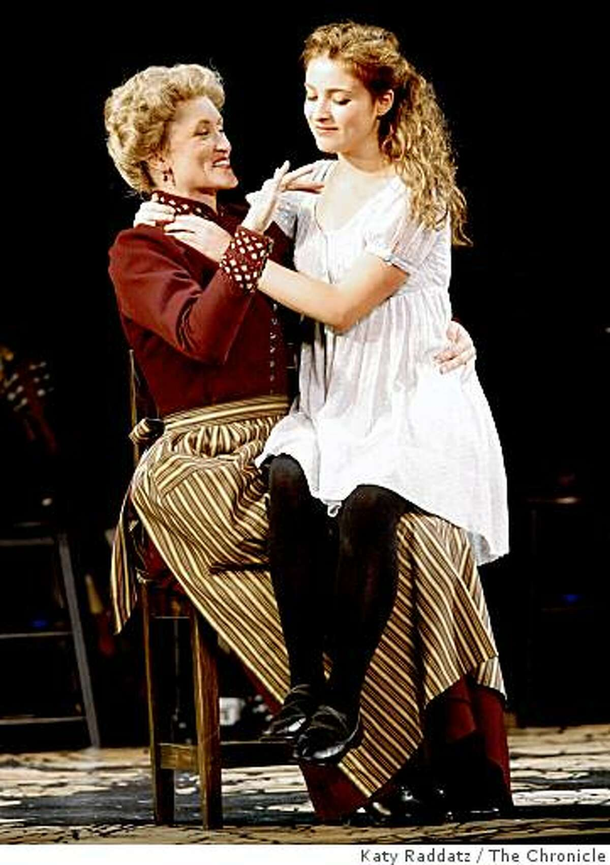 """An Adult Woman (here, Mother), played by Angela Reed, left, attempting to give sexual information to her daughter Wendla, played by Christy Altomare, right, at the opening performance of """"Spring Awakening,"""" launch of the national tour of big Broadway hits in the Best of Broadway series at the Curran Theater in San Francisco, Calif. on Sunday, Sept. 7, 2008."""