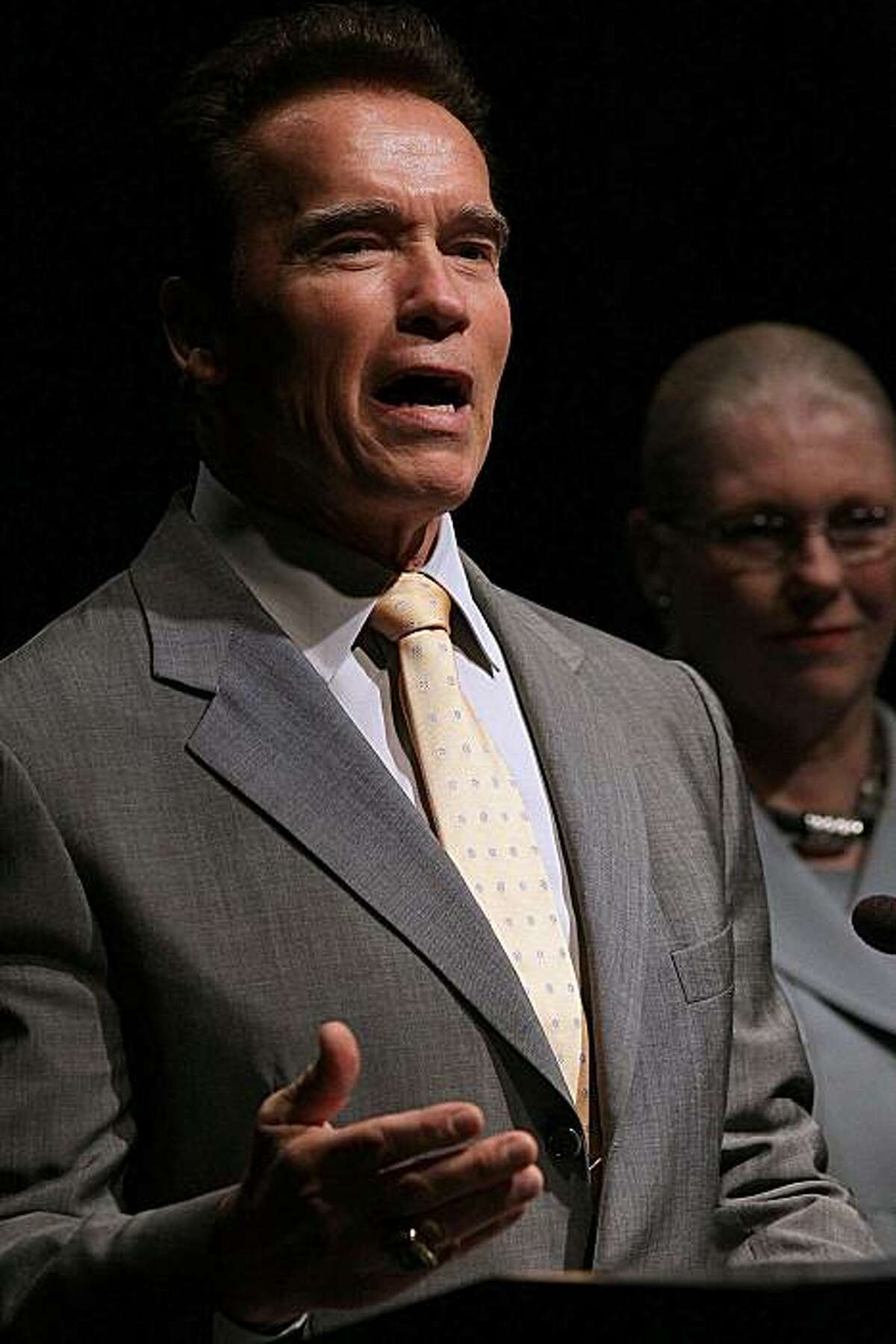"""MOUNTAIN VIEW, CA - MARCH 10: California governor Arnold Schwarzenegger speaks during an Elevate America announcement March 10, 2010 in Mountain View, California. The State of California and Microsoft announced that they will join forces to provide freetechnology training through Microsoft's """"Elevate America"""" program that will provide over 166,000 vouchers for free online technology training and certification."""