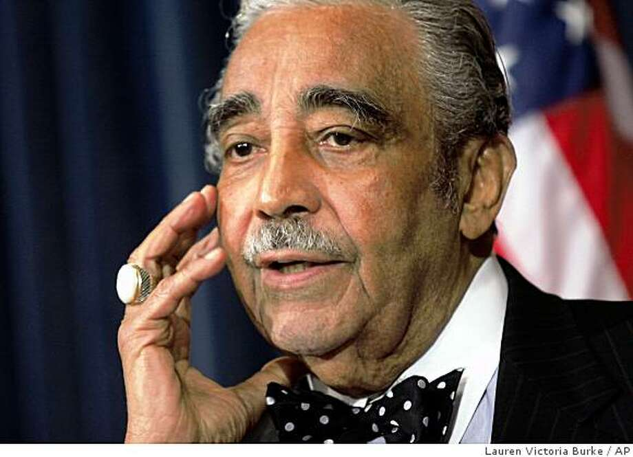 House Ways and Means Chairman Rep. Charlie Rangel, D-N.Y., takes questions from reporters regarding alleged financial improprieties, Wednesday, Sept. 10, 2008, on Capitol Hill in Washington. (AP Photo/Lauren Victoria Burke) Photo: Lauren Victoria Burke, AP