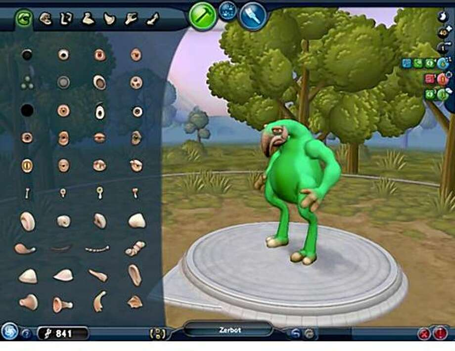 "a screenshot from Spore's ""creature creator"" function. Spore is a new video game that lets the user create a lifeform and civilization that evolves from bacteria to space-fearing pioneers."