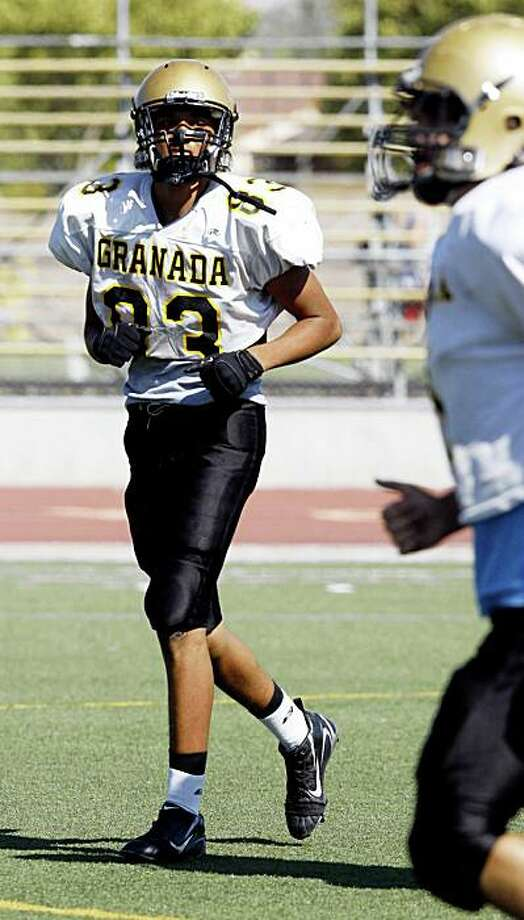 George Atkinson III, a running back and wide receiver,  at football practice at Granada High School.  George Atkinson III and his twin brother Josh Atkinson, are sons of George Atkinson, Jr., who was a defensive back for the Oakland Raiders in the 1970s, and now helps out coaching his sons' football team at Granada High School in Livermore, Calif. on Sunday, Sept. 7, 2008. Photo: Katy Raddatz, The Chronicle