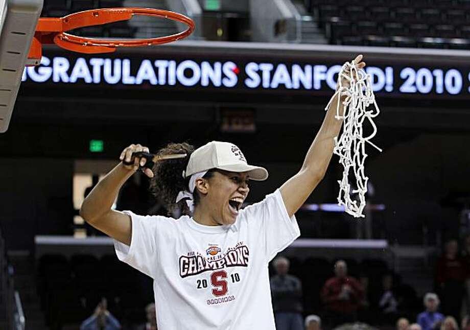 Stanford guard Rosalyn Gold-Onwude cuts the net away from the rim after Stanford's 70-46 win over UCLA in an NCAA college basketball game in the finals of the women's Pac-10  tournament Sunday, March 14, 2010, in Los Angeles. Photo: Alex Gallardo, AP