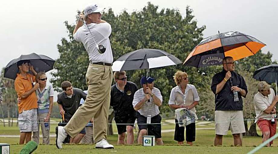 Ernie Els tees off on the 8th hole during the second round of the 2010 WGC-CA Championship at the Doral Resort in Miami, Florida, on Friday, March 12, 2010. Els was 6-under on the day, surging into the tournament lead heading into the weekend. (Charles Trainor Jr./Miami Herald/MCT) Photo: Charles Trainor Jr., MCT