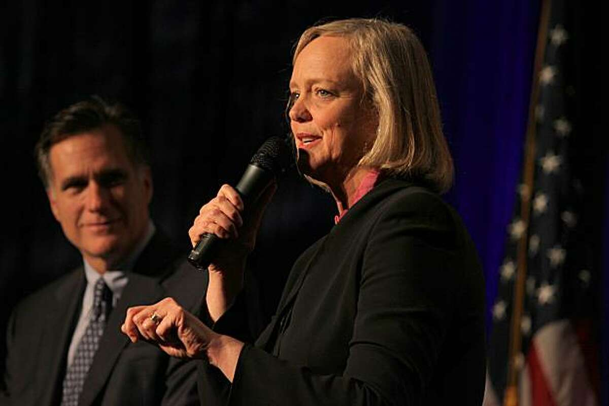 Gubernatorial candidate Meg Whitman being introduced by former Massachusetts Governor Mitt Romney at the banquet of the California Republican Party 2010 Spring Convention in the Santa Clara Hyatt Regency and Convention Center in Santa Clara, Ca., on Friday, March 12, 2010.