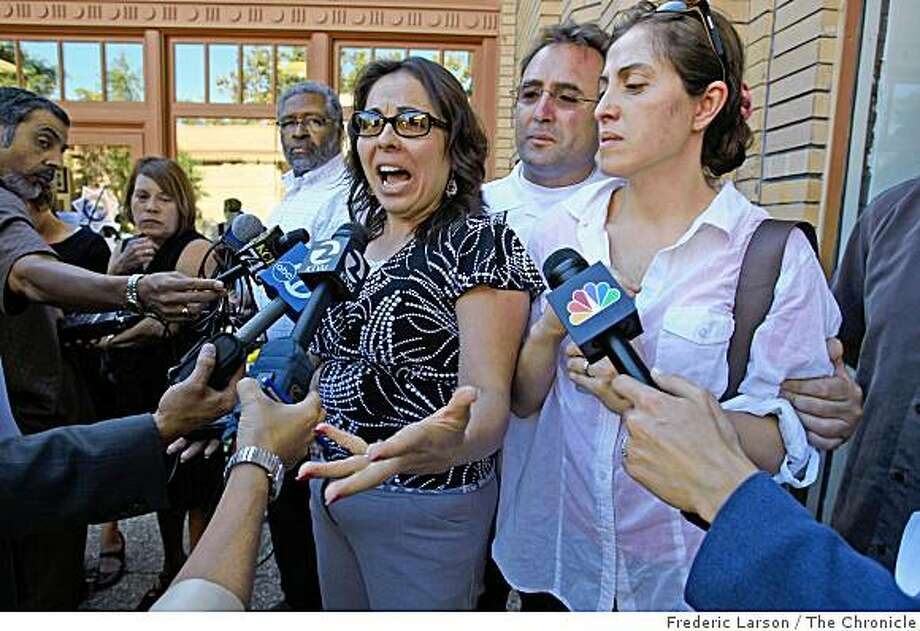 Sylvia Torres Limon (center) alongside her brother Eustacio Torres and her sister Patricia Bustamante confronted the Martinez police department at a press conference in Martinez, Calif., on September 8, 2008 on why their sister Catalina Torres died in the hands of Felix Sandoval, Jr. Photo: Frederic Larson, The Chronicle