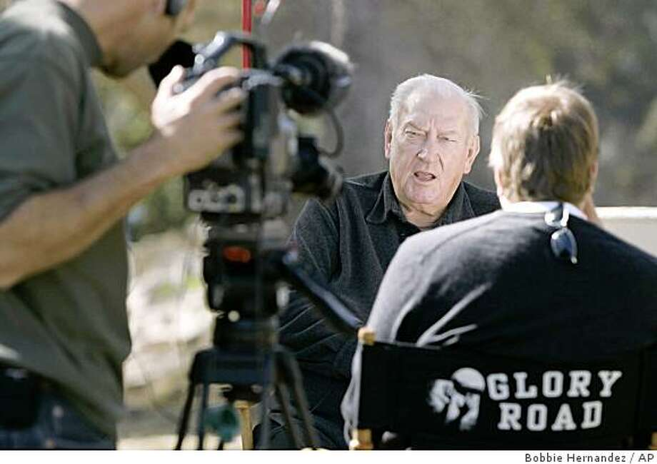 ** FILE ** In this Nov. 8, 2004 file photo, Don Haskins, head basketball coach for the University of Texas at El Paso, center, speaks during an interview with the Glory Road production crew in El Paso, Texas. Haskins died Sunday, Sept. 7, 2008 at the age of 78. (AP Photo/Bobbie Hernandez, File) Photo: Bobbie Hernandez, AP