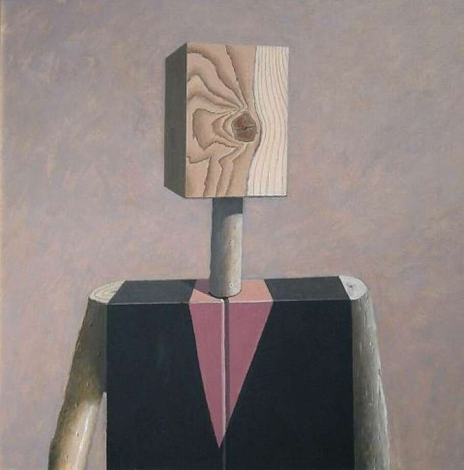 """""""Stick Figure - Pink Pointed Dickey"""" (1985) oil on canvas by Gordon Cook    27"""" x 27"""" Photo: Courtesy, George Krevsky Gallery, S.F."""
