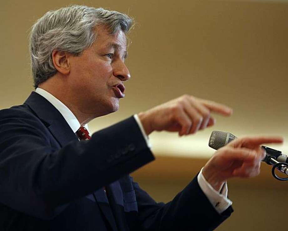 Jamie Dimon, chairman and CEO of JP Morgan Chase, addresses a gathering of business and civic leaders at an economic summit in Stanford, Calif., on Friday, March 12, 2010. Photo: Paul Chinn, The Chronicle
