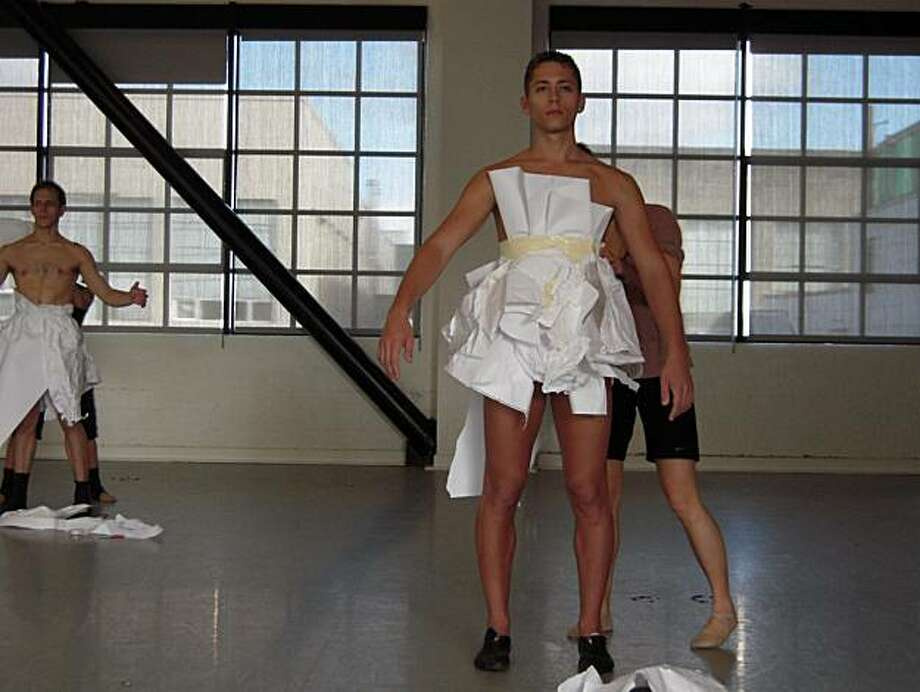 Aaron Perlstein in a costume that will be created on stage during an ODC dance performance Photo: Mona Baroudi