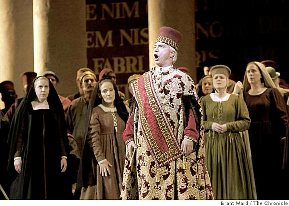 Dmitri Hvorostovsky as Simon addresses the townspeople who have rushed into the palace. SF Opera opens its season with Verdi's epic Simon Boccanegra. These from dress rehearsal Tuesday, September 2, 2008. Photo: Brant Ward, The Chronicle