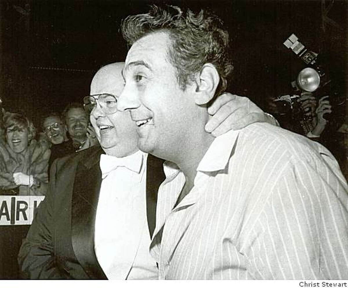 San Francisco Opera General Manager Terrence McEwen greets Placido Domingo in 1983, after the singer flew across the country to replace a tenor who had lost his voice.