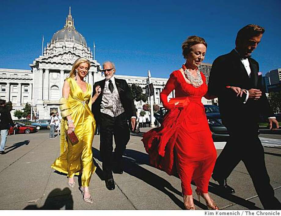 From left, Pamala and Ted Deikel, Roberta Sherman and Kevin Hill arriveas guest arrive for the reception at War Memorial Opera House in San Francisco, Calif., on Sept. 5, 2008. Photo: Kim Komenich, The Chronicle