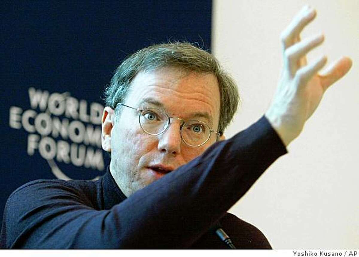 Eric Schmidt, CEO of Google, USA, speaks at a panel session at the Annual Meeting of the World Economic Forum in Davos, Switzerland, Friday, Jan. 23, 2004. (AP Photo/ Keystone, Yoshiko Kusano)