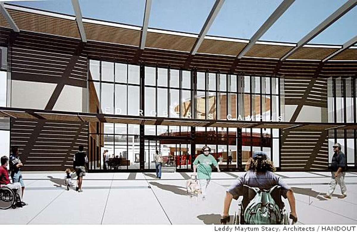 An architect's rendering shows the front entrance to the Ed Roberts Campus at the Ashby BART station in Berkeley, Calif., on Thursday, Sept. 4, 2008.