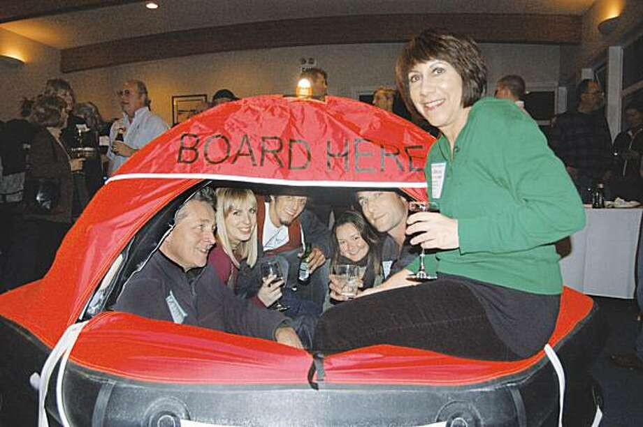 Would-be crew and skippers meet in a life raft after its inflation demo at the Latitude 38 Spring Crew List Party at the Golden Gate Yacht Club (picture is from 2009 event) Photo: LaDonna Bubak / Latitude 38