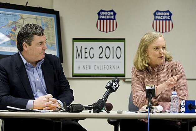 Republican gubernatorial candidate Meg Whitman, right, holds a discussion with Scott Moore, vice president of public relations for Union Pacific, after touring the Oakland Union Pacific Intermodal Facility in Oakland, Calif. on Tuesday, March 9, 2010.    Kat Wade / Special to the Chronicle Photo: Kat Wade, Special To The Chronicle