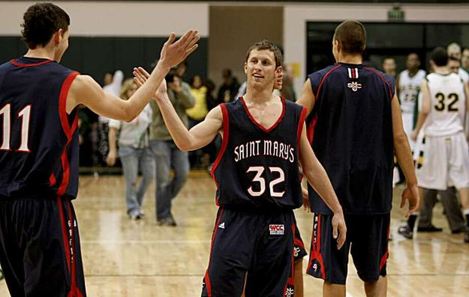 St. Mary's Clint Stiendl (11) and Mickey McConnell (32) celebrate their win as St. Mary's 83-62 in mens basketball in San Francisco, Calif. on Friday January 08, 2010. Photo: Michael Macor, The Chronicle