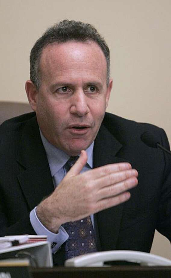 State Senate President Pro Tem Darrell Steinberg, D-Sacramento, chair of the Senate Rules Committee questions State Sen. Abel Maldonado, R-Santa Maria, unseen, during a committee hearing on his nomination for Lieutenant governor at the Capitol in Sacramento, Calif., Wednesday, Feb. 3, 2010.  Democrats and Republicans on the Senate Rules Committee joined in a 4-0 vote to send his nomination to the full Senate for final approval.  Maldonado was nominated for the position by Gov. Arnold Schwarzenegger afterLt. Gov. John Garamendi, a democrat, was elected to Congress in November of last year. Photo: Rich Pedroncelli, AP