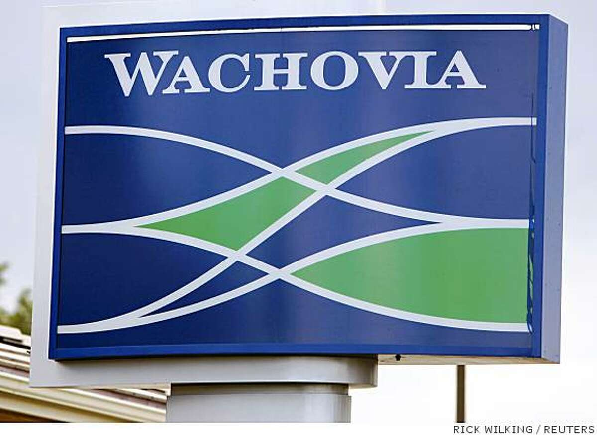 The sign outside a Wachovia Bank branch is pictured in Denver July 22, 2008. Wachovia Corp, the fourth-largest U.S. bank, posted a record $8.86 billion quarterly loss on Tuesday, slashed its dividend 87 percent and announced the elimination of more than 10,700 jobs after losses tied to mortgages soared. The bank has been among the lenders hardest hit by the U.S. housing crisis, following a disastrous $24.2 billion purchase in October 2006 of California mortgage specialist Golden West Financial Corp. REUTERS/Rick Wilking (UNITED STATES)