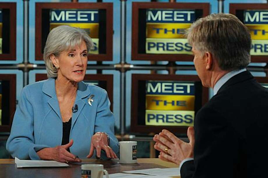 """WASHINGTON - MARCH 7:  (EDITORIAL USE ONLY, TABLOIDS OUT) In this handout photo provided by NBC Universal, Host David Gregory interviews U.S. Health and Human Services Secretary Kathleen Sebelius during """"Meet the Press"""" at NBC studios March 7, 2010 in Washington, DC. Sebelius met with insurance company executives at the White House this week to discuss the problematic health insurance premium increases and the Obama administration's desire for the country to have affordable health coverage. Photo: Handout, Getty Images"""