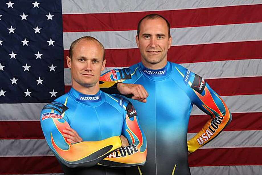 FILE - In this Sept. 10, 2009 file photo, doubles luge competitors Brian Martin, left, and Mark Grimmette pose for a portrait during the USOC Media Summit in Chicago. Grimmette and Martin, America's most decorated doubles luge sliders, announced their retirement Sunday, March 14, 2010, not long after placing second at USA Luge's national championships in Lake Placid, N.Y. Photo: Skip Stewart, AP