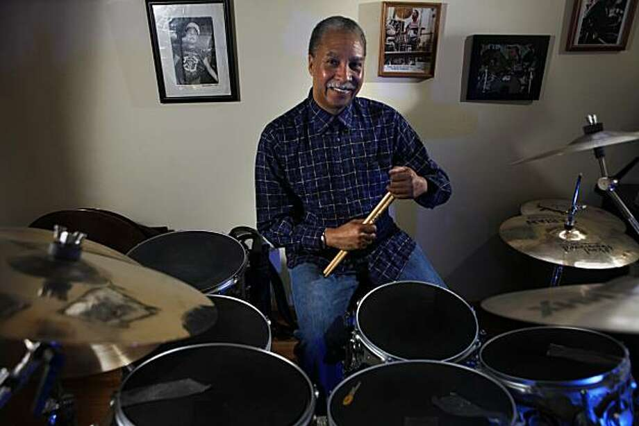 Drummer Zigaboo Modeliste poses with his drums at his home on Thursday, February 25, 2010. Photo: Lea Suzuki, The Chronicle