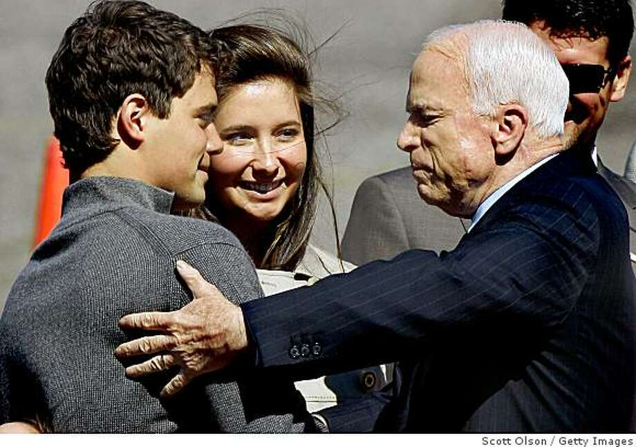 ST. PAUL, MN - SEPTEMBER 03:  Presumptive Republican presidential nominee John McCain is greeted by Levi Johnston and his girlfriend Bristol Palin, daughter of vice presidential candidate and Alaska Gov. Sarah Palin at the Minneapolis-St. Paul International Airport September 3, 2008 in Bloomington, Minnesota. The Palin family was at the airport to greet McCain as he arrived for the Republican National Convention.  McCain is scheduled to accept the Republican nomination for president during a speech at the convention which is being held at the Xcel Center in St. Paul, Minnesota.  (Photo by Scott Olson/Getty Images) Photo: Getty Images