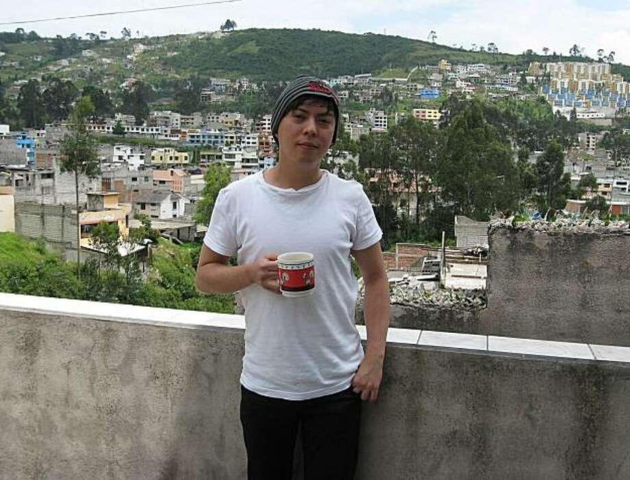 Bobbi Quetzal enjoys morning coffee on the terrace of his room in Ecuador. Photo: Courtesy Of Bobbi Quetzal